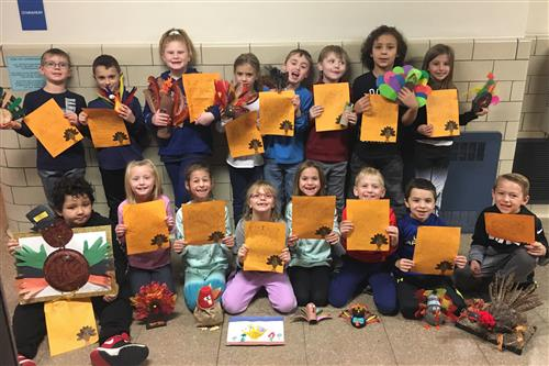 Mrs. Zielenski's Second Graders Showcase Their Creativity with Thanksgiving Projects
