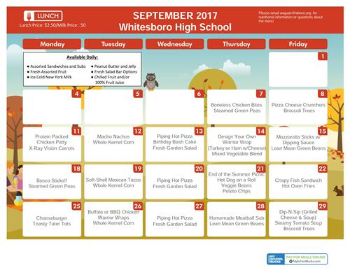 Sept. HS Lunch Menu