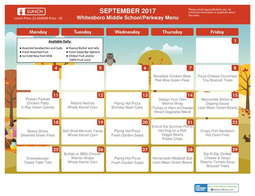 Sept. MS and Parkway Lunch Menu