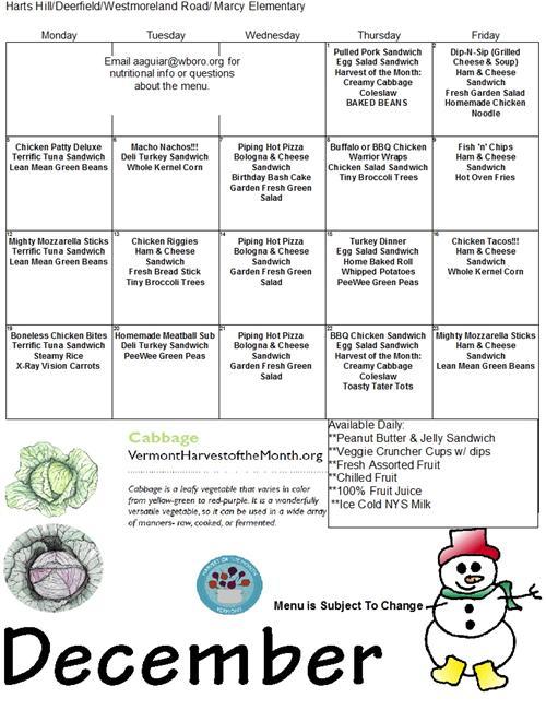 Elementary lunch menu