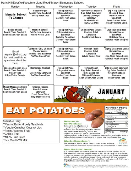 elementary schools lunch menu