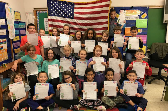 Third Grade Students at Hart's Hill Write Thank You Notes for Veterans