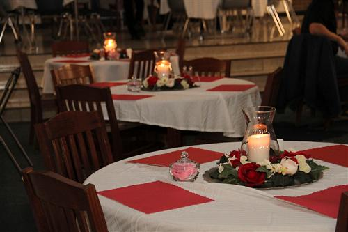 tables lit with candles