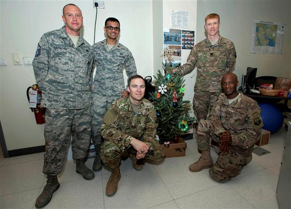 Troops with Christmas tree